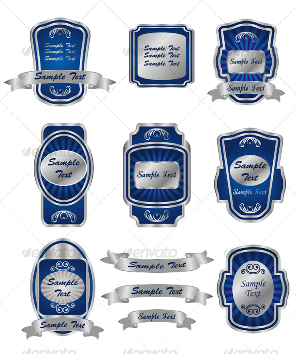 Set of vintage silver labels - Decorative Symbols Decorative