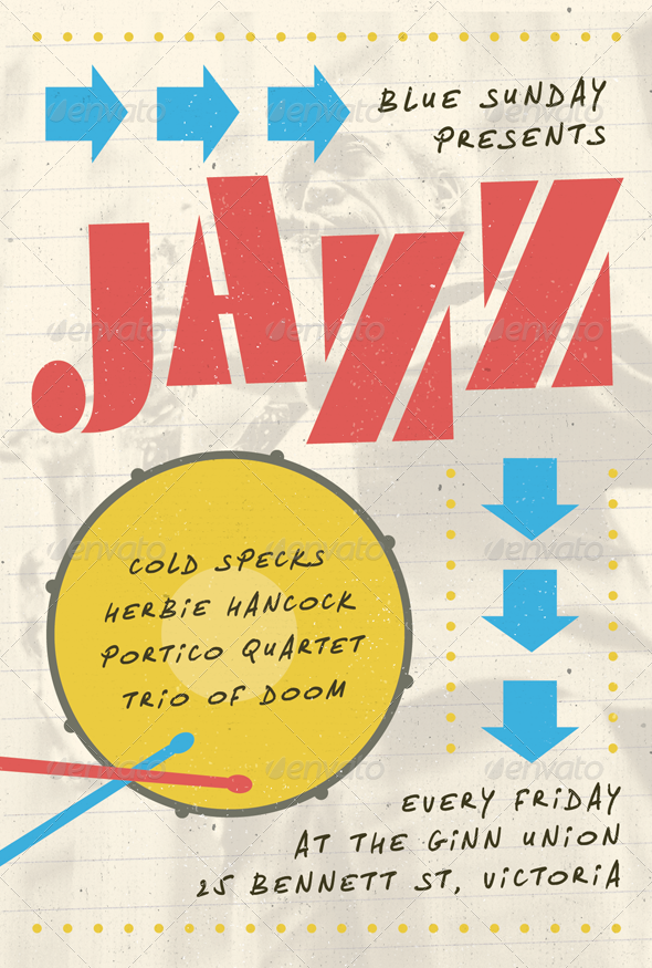 Jazz Note - Jazz, Blues and Swing Flyer Template - Concerts Events