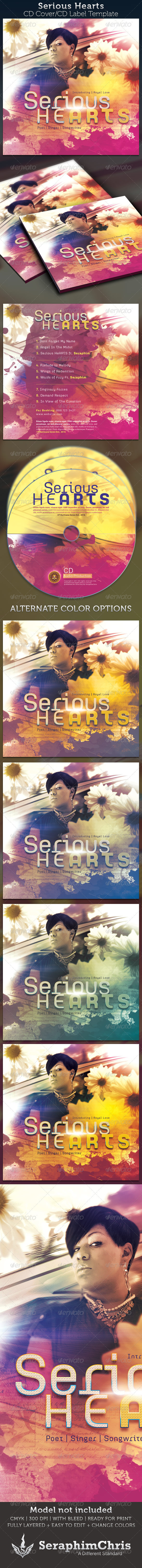 Serious Hearts CD Cover Artwork Template - CD & DVD artwork Print Templates