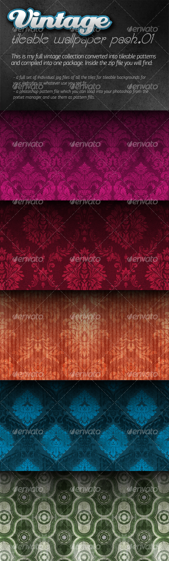 Vintage Tileable Wallpaper Pack 01 - Patterns Backgrounds