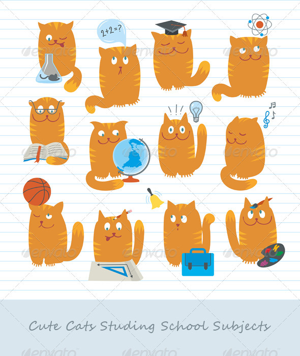 Cute Cats Studing School Subjects - Animals Characters