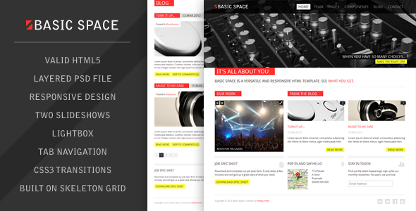 Basic Space HTML Template