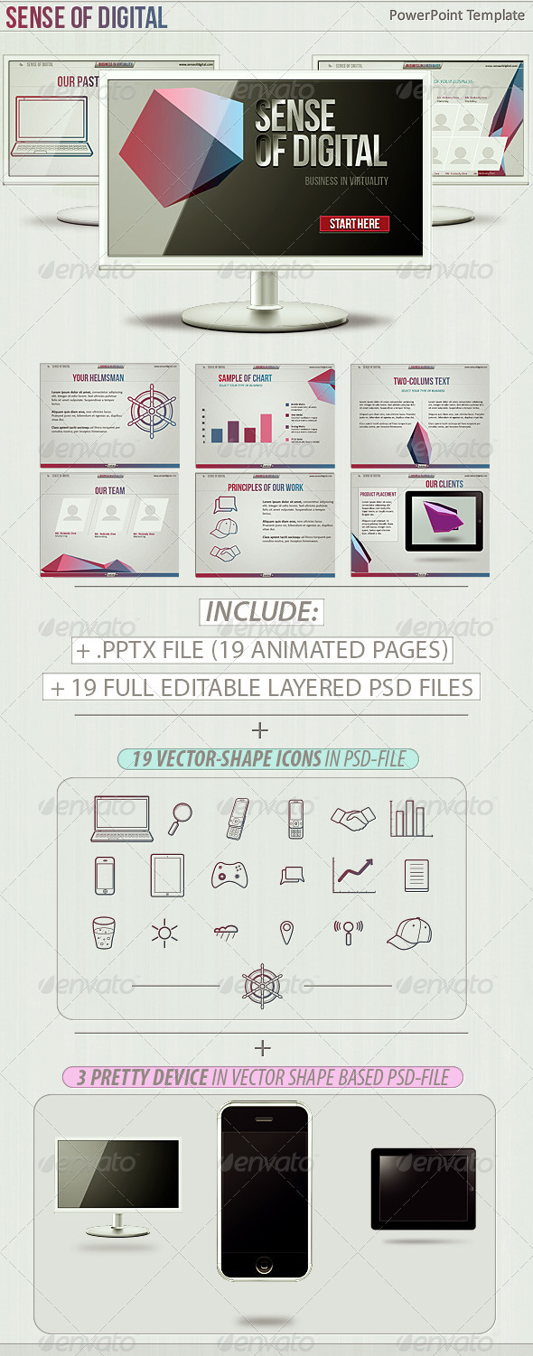 Sense Of Digital PowerPoint Template - Business Powerpoint Templates