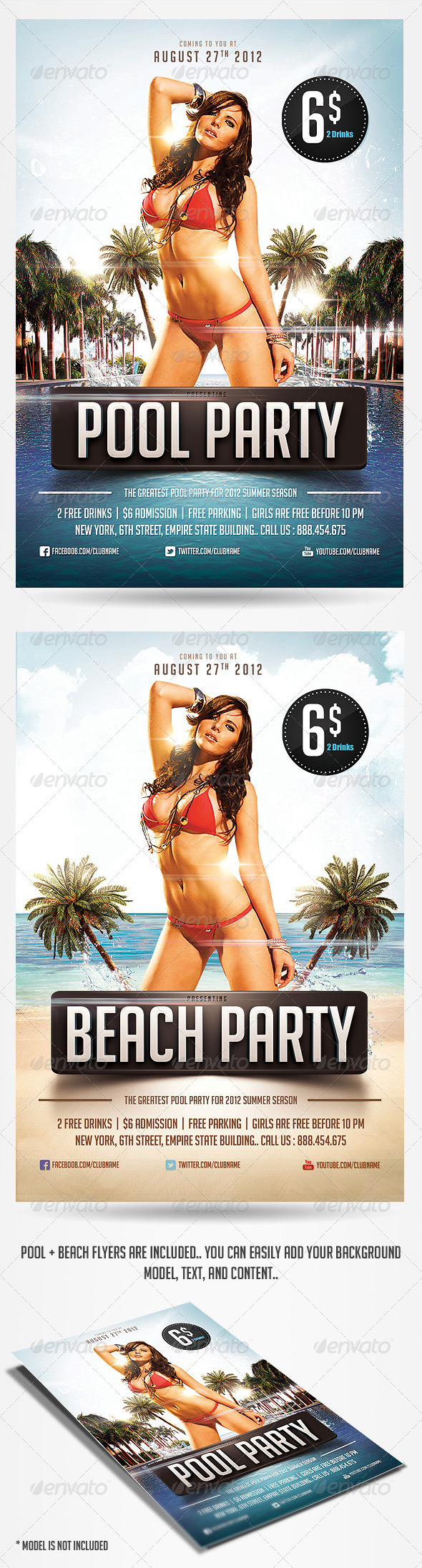 GraphicRiver Pool & Beach party flyers 2480091