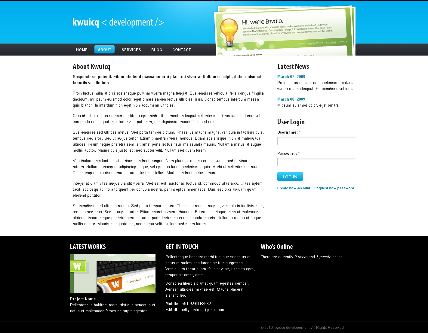 Kwuicq Drupal 6 Corporate Blue Theme
