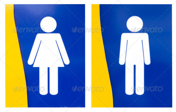 Men and Women of toilet sign isolated on white - Stock Photo - Images