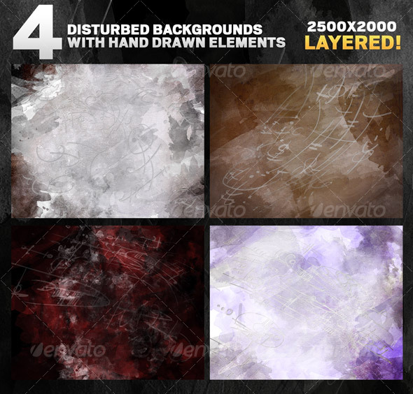 4 Disturbed backgrounds with hand drawn elements - Abstract Backgrounds