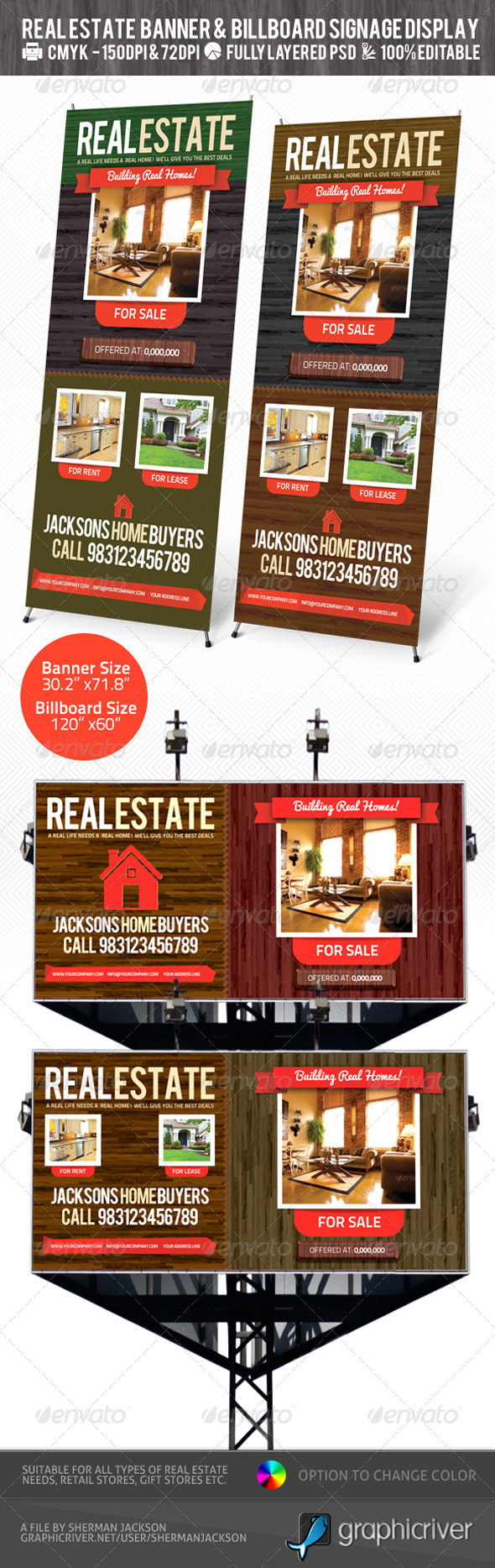 Real Estate Outdoor Banner & Billboard Signage PSD - Signage Print Templates