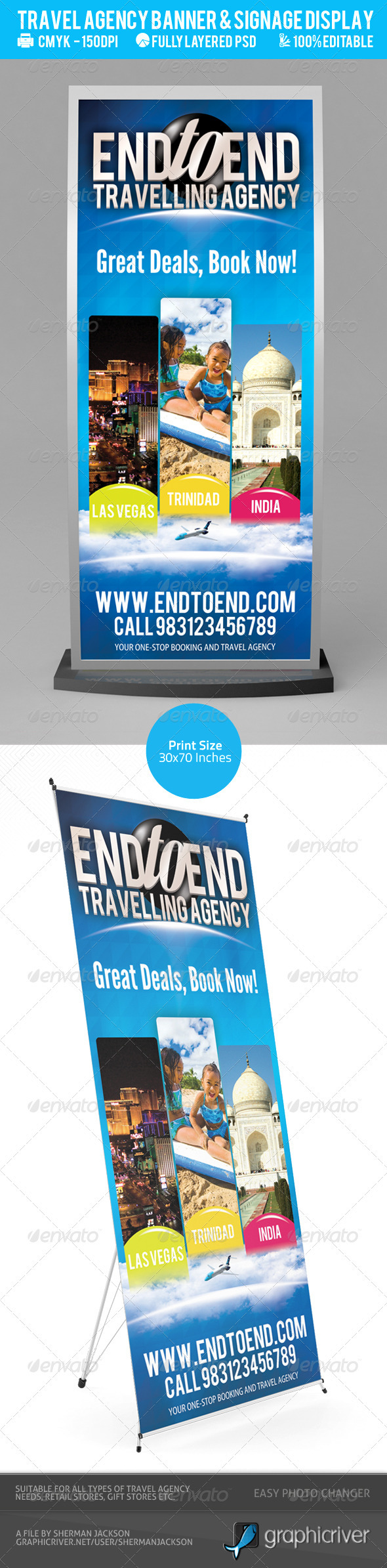 Travel Agency Banner & Signage Display PSD - Signage Print Templates