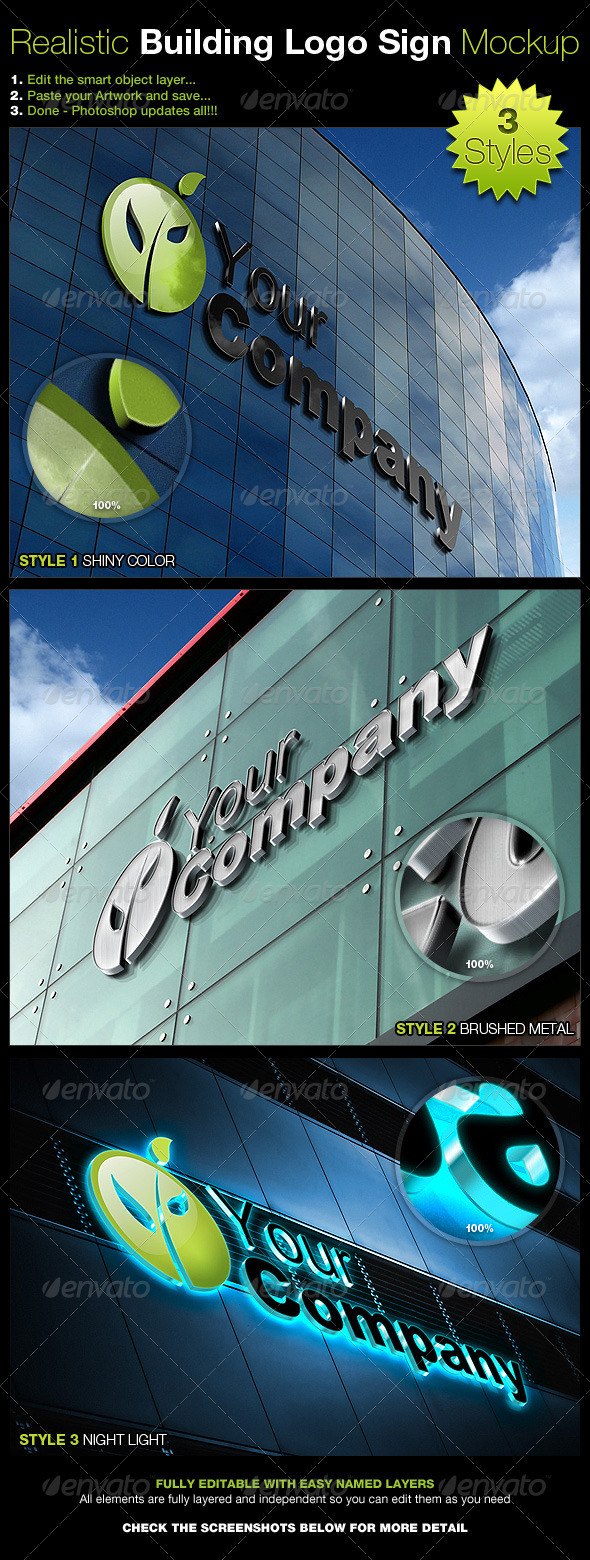 Realistic Building Logo Sign Mock-Up - Logo Product Mock-Ups