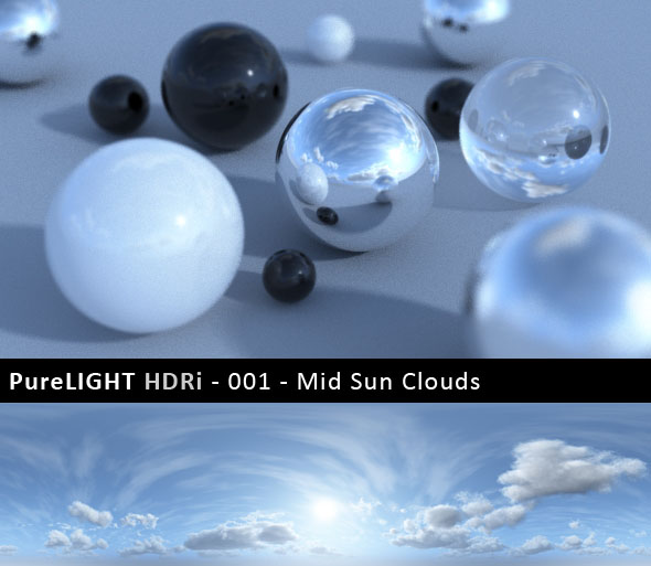 PureLIGHT HDRi 001 - Mid Sun Clouds - 3DOcean Item for Sale