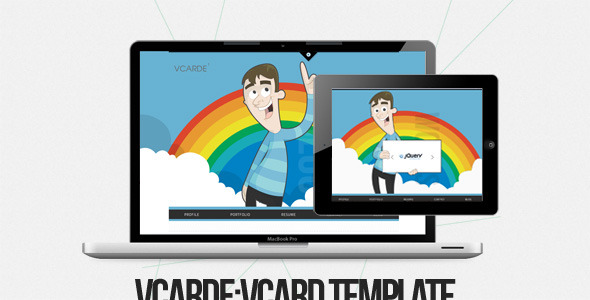 vCarde-Illustrated, Responsive Unique vCard