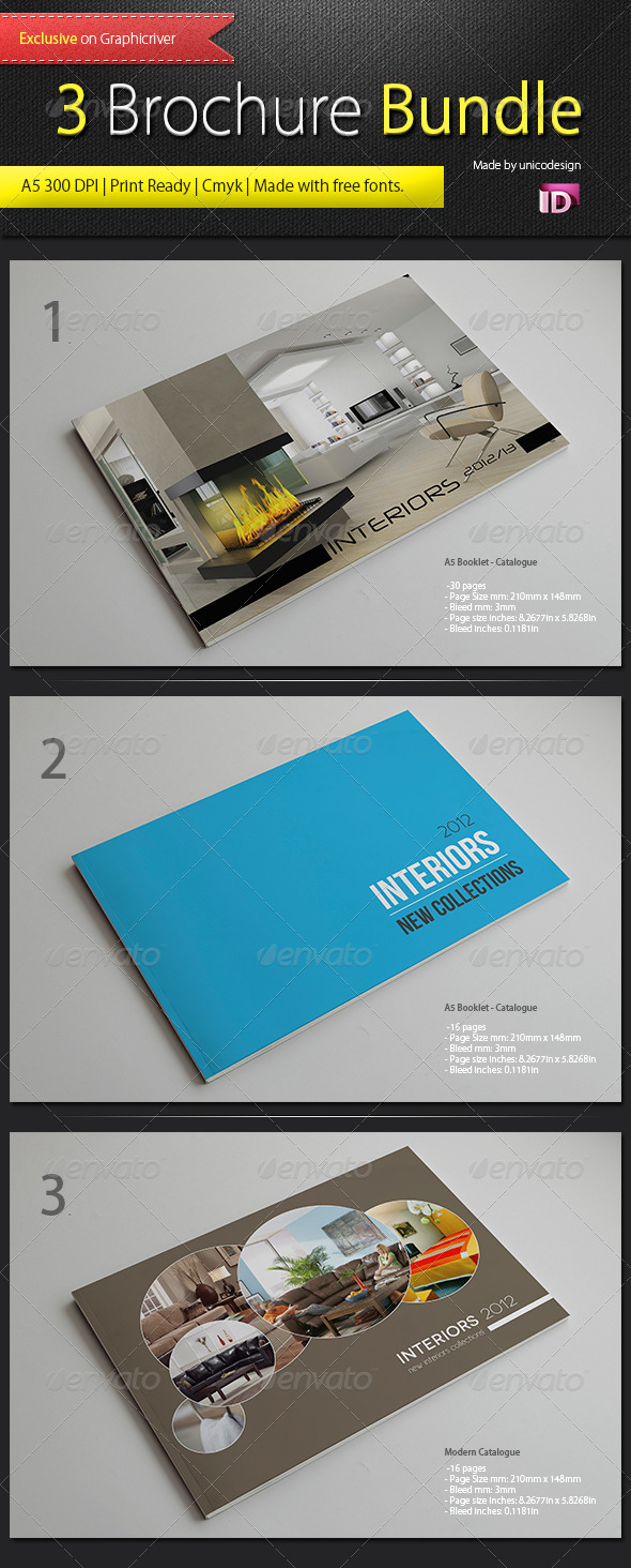 3 Brochure Bundle - Brochures Print Templates