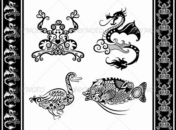 Animal Ornaments (Dragon, Frog, Duck, Fish) - Decorative Symbols Decorative