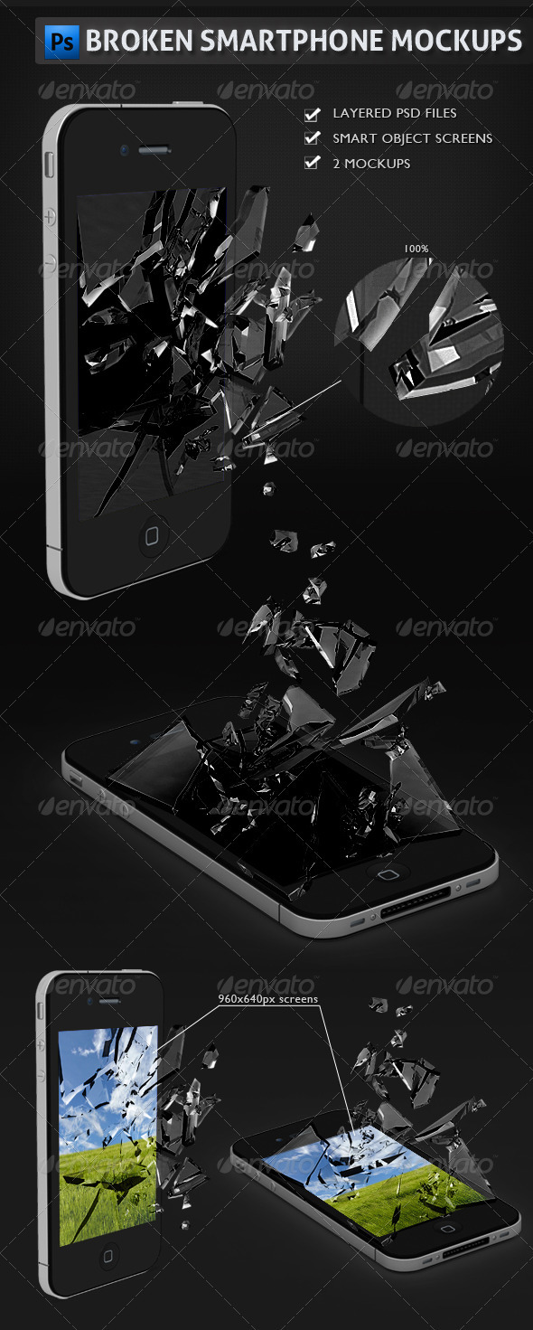 Broken Smartphone Mockups - Mobile Displays