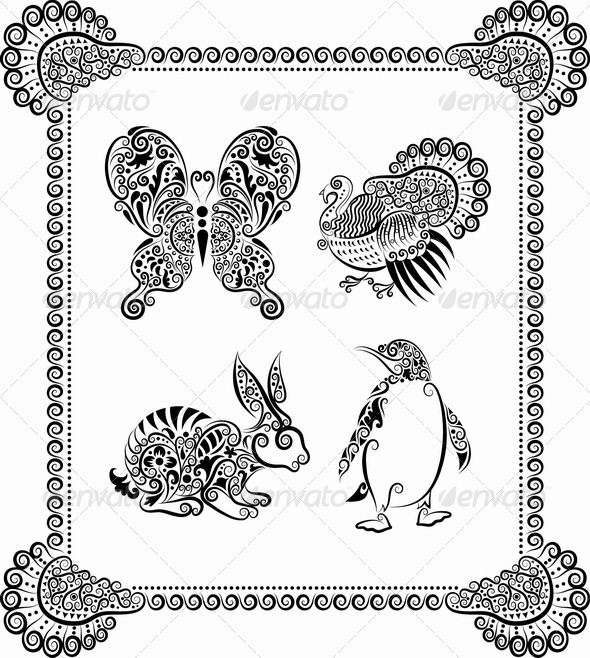 Animal ornaments (rabbit, butterfly, turkey) - Decorative Symbols Decorative