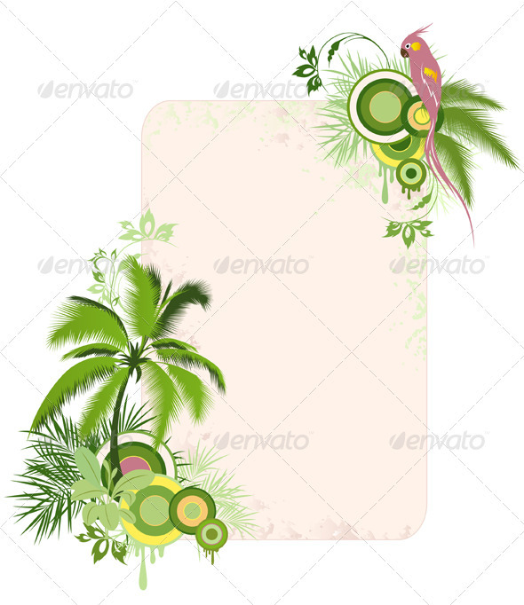 Floral Background with Palms and Parrot - Flowers &amp; Plants Nature