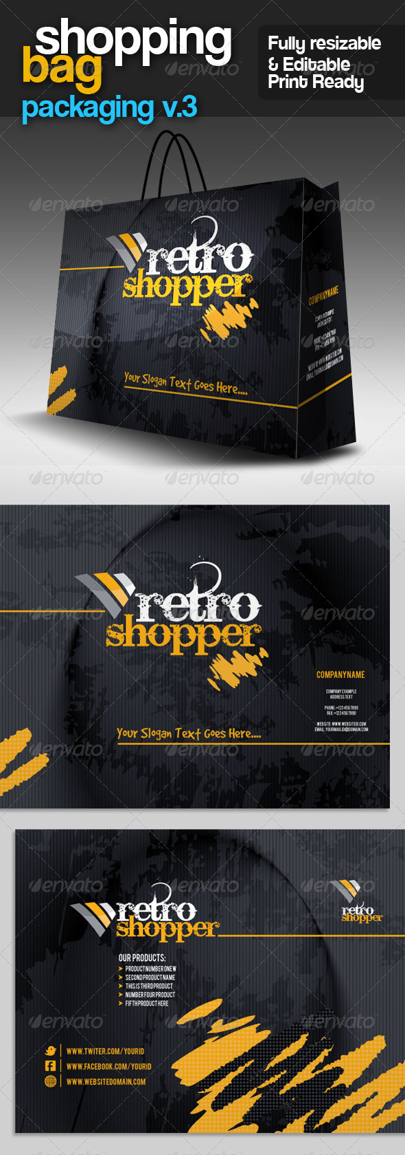GA Shopping Bag Packaging v.3 - Packaging Print Templates