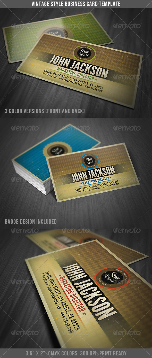 Vintage Style Business Card Template - Business Cards Print Templates