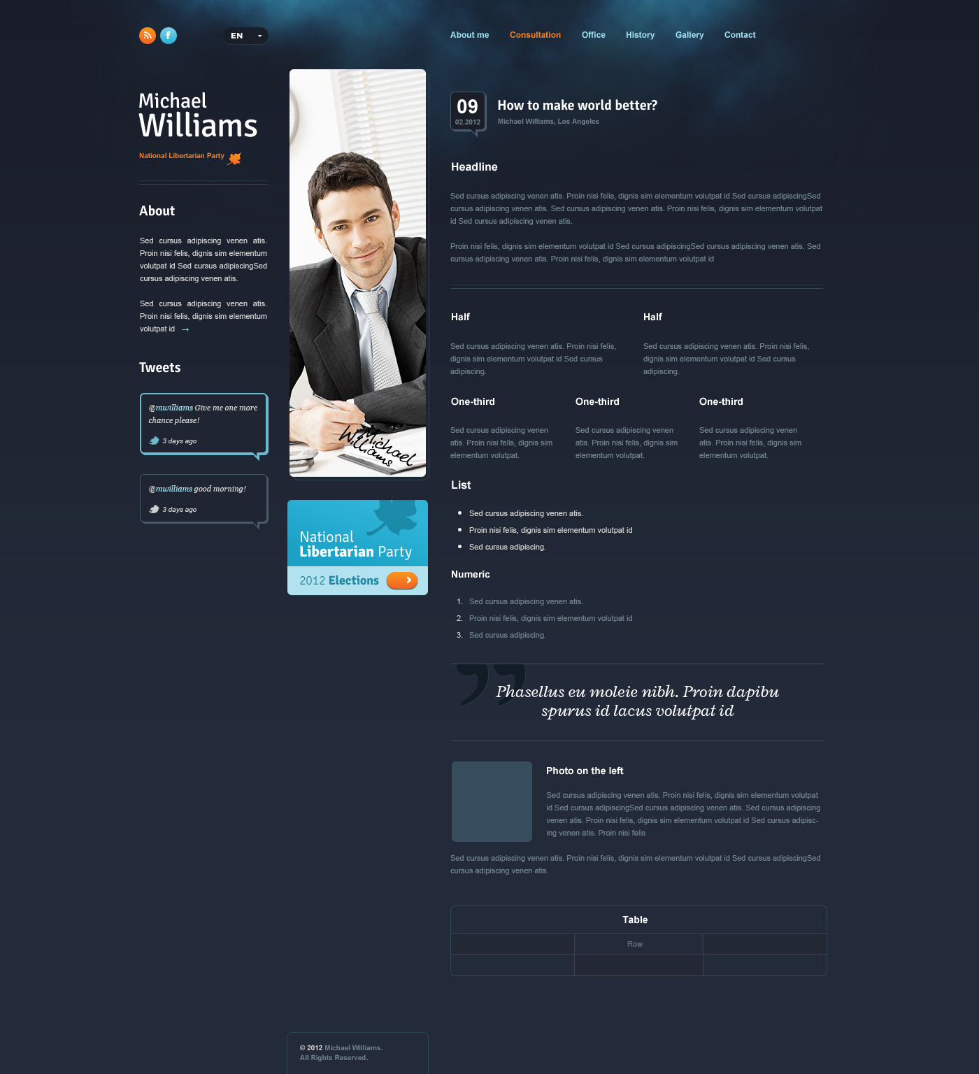 Politician PSD - template for politicians - Blog page template
