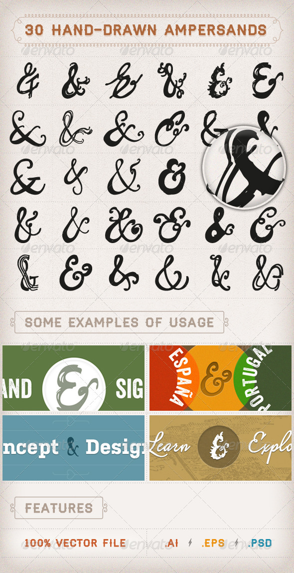 30 Hand-drawn Ampersands - Decorative Symbols Decorative