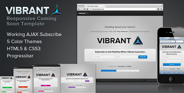 Vibrant Coming Soon - Responsive Launch Template