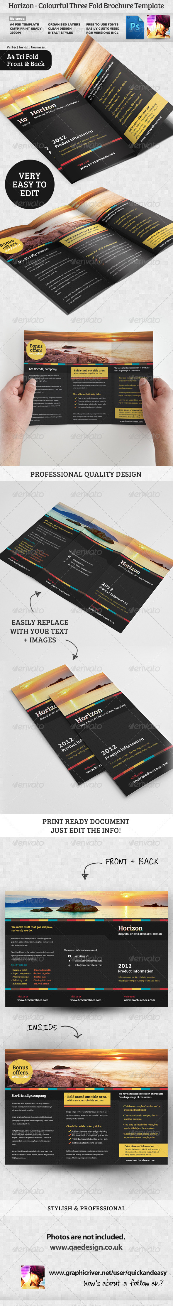 Horizon Tri Fold Brochure Template - Corporate Brochures