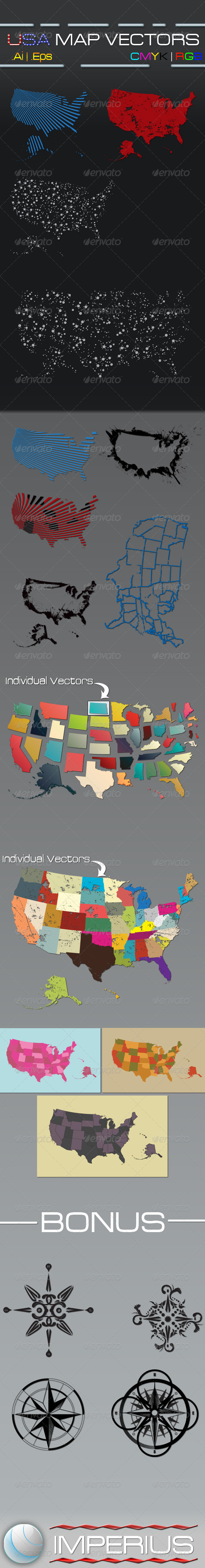 USA Map Vectors - Miscellaneous Conceptual