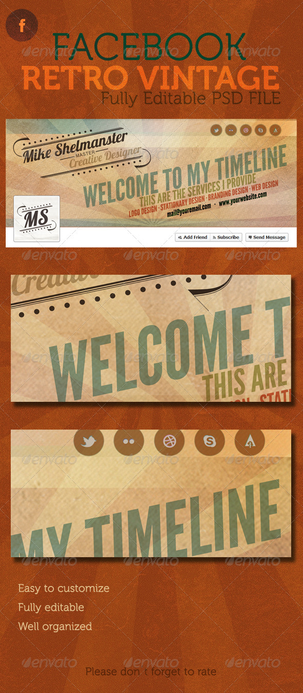 GraphicRiver Facebook Retro Vintage Timeline Cover 2490871