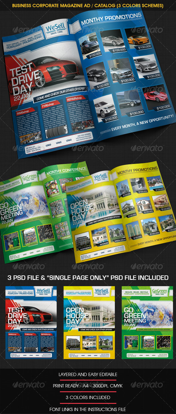 Business Corporate Magazine Ad / Catalog (3 color) - Magazines Print Templates