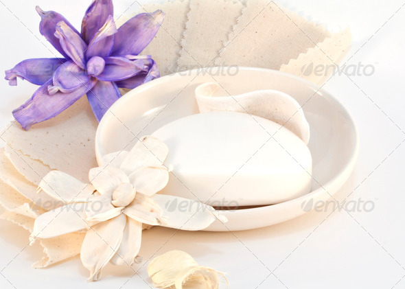 Soap with flowers - Stock Photo - Images