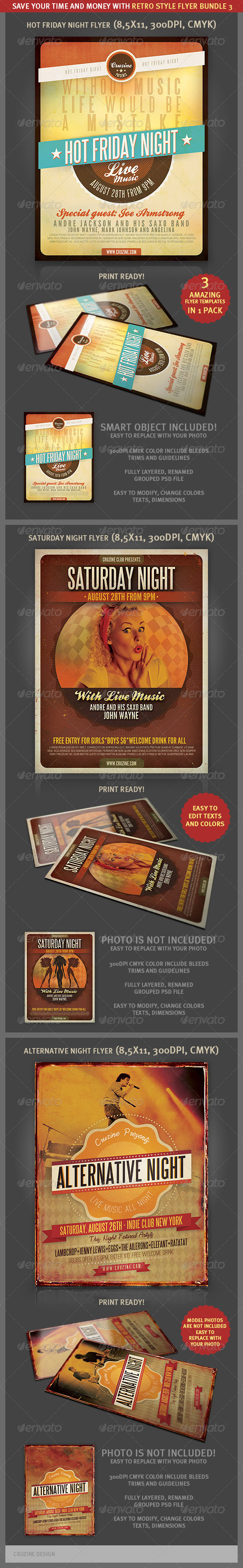Retro Style Flyer Bundle 3 - Events Flyers