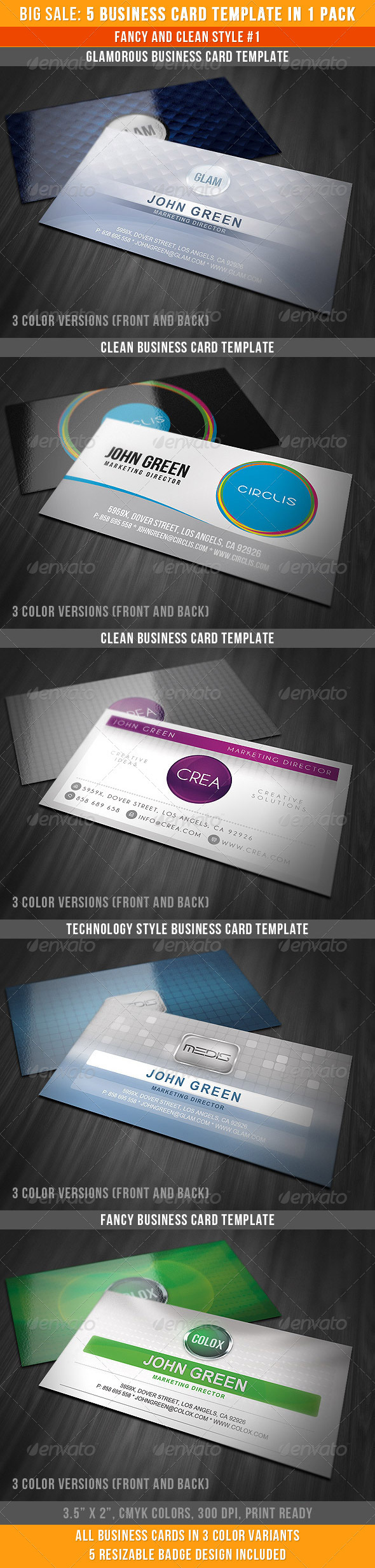 Fancy And Clean Business Cards Bundle - Business Cards Print Templates