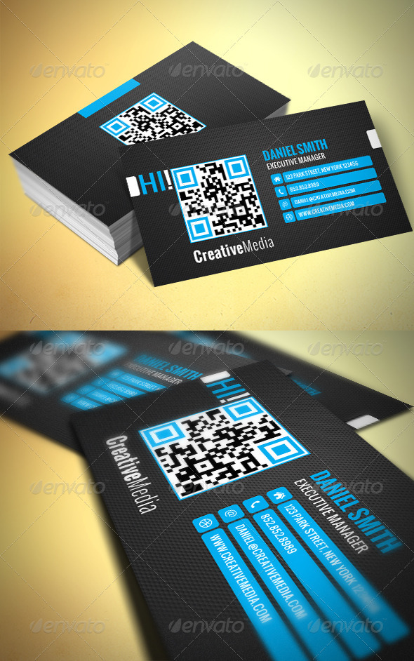 Modern QR Business Card - Corporate Business Cards