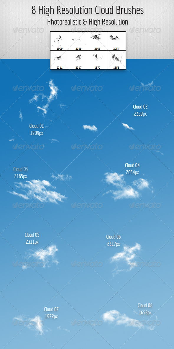 8 High Resolution Cloud Brushes - Miscellaneous Brushes