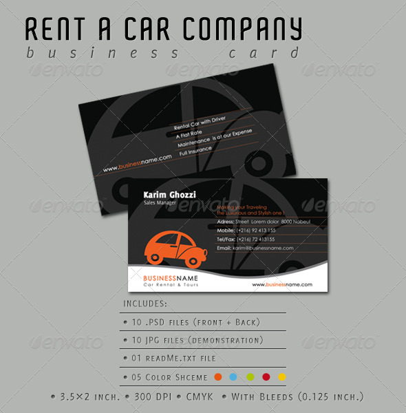 Rent A Car Company Business Card - Industry Specific Business Cards
