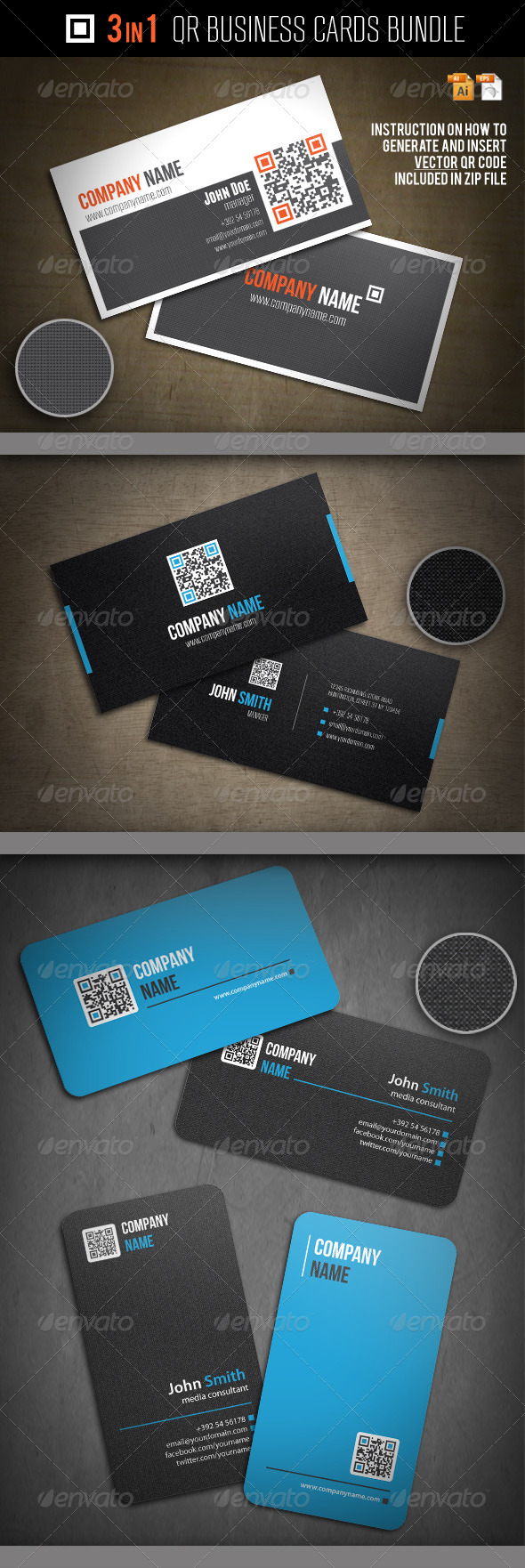 GraphicRiver 3-In-1 QR Business Cards Bundle 2506154