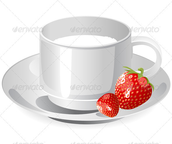 GraphicRiver Cup of Milk and Strawberry 2506485