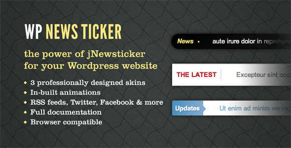 jNewsticker per a Wordpress - WorldWideScripts.net article en venda
