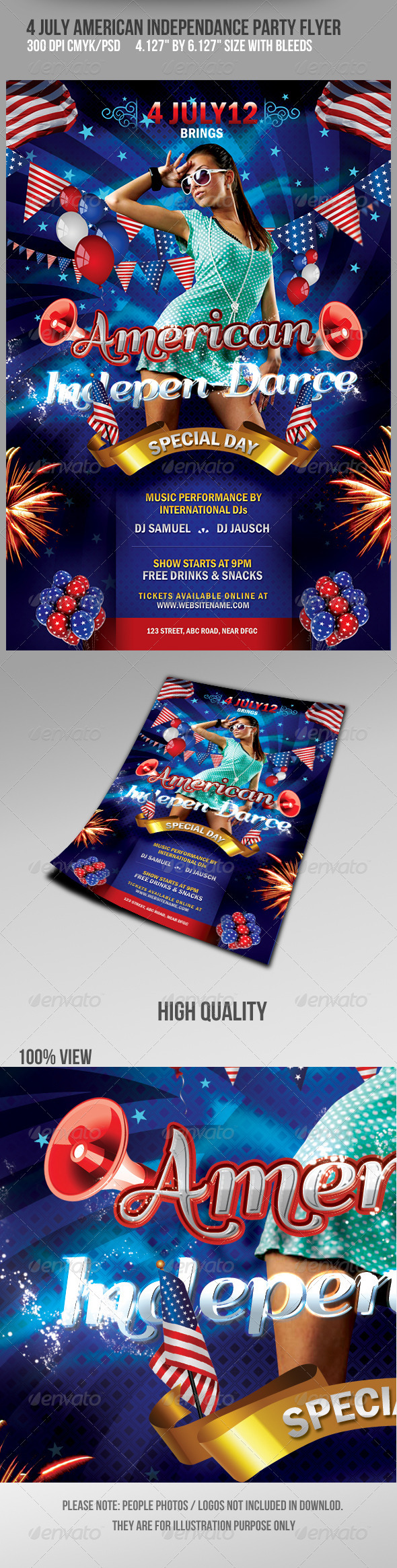4th July American Independance Party Flyer - Flyers Print Templates