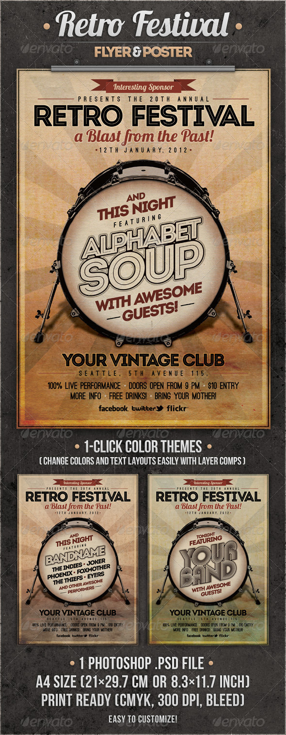 Retro Festival Flyer &amp; Poster - Concerts Events