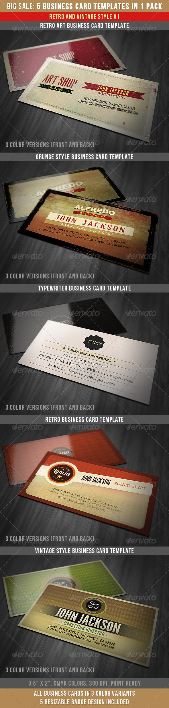 Retro Business Cards Bundle - Retro/Vintage Business Cards