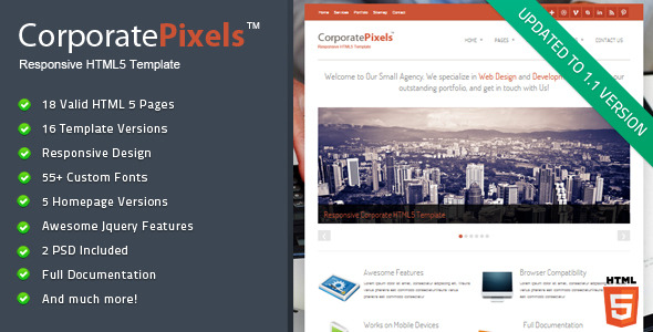 CorporatePixels - Responsive HTML5 Template