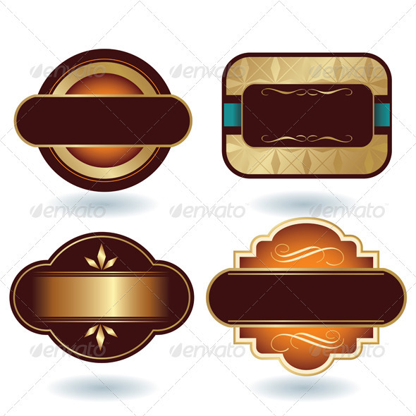 Brown Gold Labels Template - Decorative Vectors