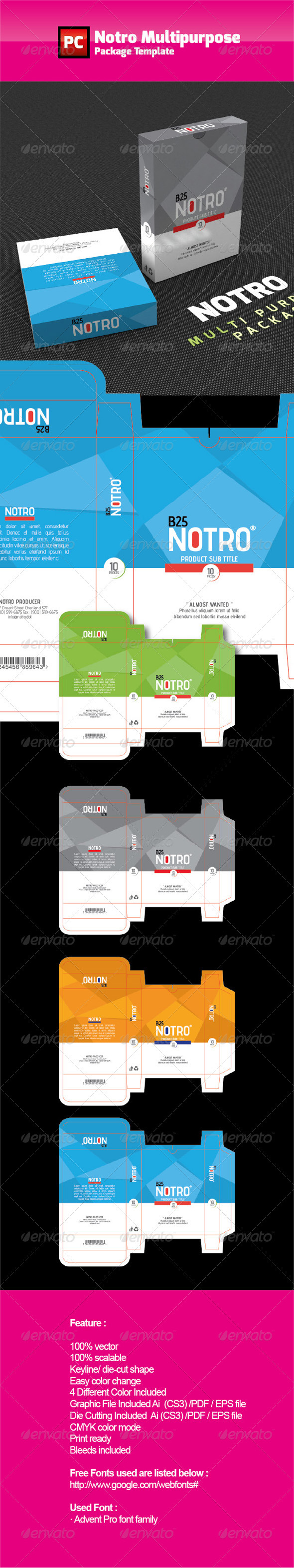 NOTRO Multipurpose Box Template - Packaging Print Templates