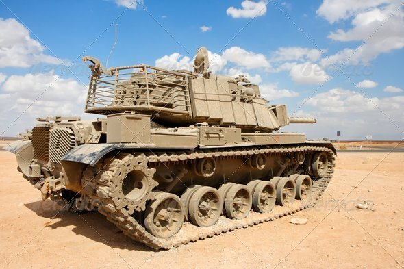 Old Israeli Magach tank near the military base in the desert - Stock Photo - Images