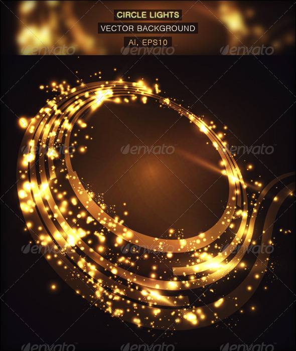Circle Lights Vector Background - Backgrounds Decorative