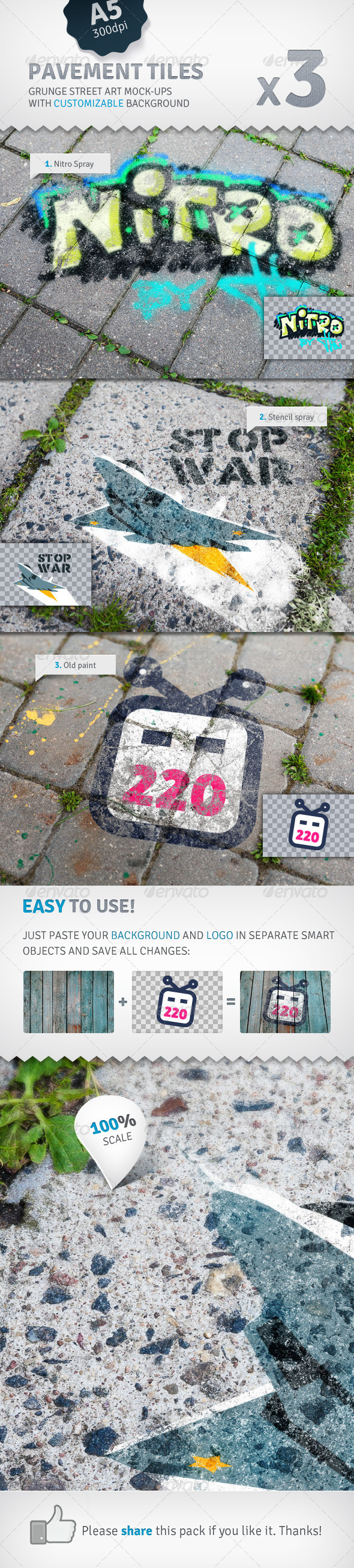 Pavement Tiles - 3 Graffiti Street Art Mockups - Miscellaneous Displays