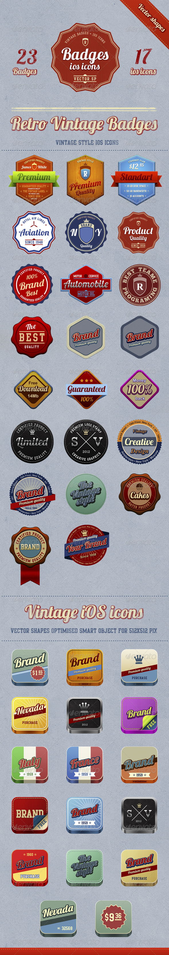 23 badges + 17 vintage iOS icons - Badges & Stickers Web Elements