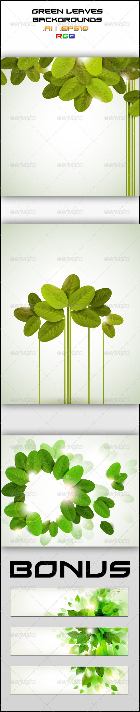 GraphicRiver Green Leaves Backgrounds 2522324